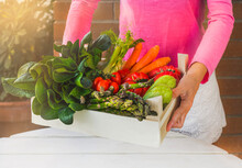 Woman Holding A Box Of Fresh Vegetables On A White Wooden Table. Healthy Mediterranean Diet. Local Products.