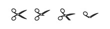 Set Of Cutting Scissors With Cut Lines For Cutting Paper In Flat Style. Cut Out Sign, Symbol, Icon. Cut Out Place. Paper Cut Black Card. Discount Coupon. Black Shape Silhouette Sign.