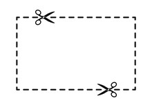 Scissors Cut Along The Contour On A White Background. Cut Out Coupon Border Rectangle Shape. Scissors Cutting Square Line. Vector Illustration