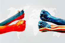 Flags Of Usa Or United States Of America And European Union Or EU VS China And  Russia On Hands Punch To Each Others On World Map Background