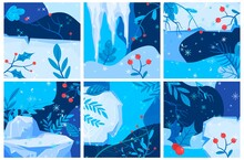 Winter Background, Viburnum Branches, Snow Banner, Blue Nature, Red Berries, Design, In Cartoon Style Vector Illustration.
