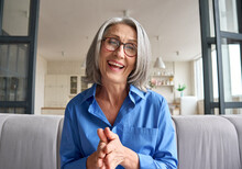 Happy Middle 60s Aged Woman Teacher, Psychologist Laughing Talking To Webcam Of Grey Haired Elderly Business Woman Staying In Living Room At Home On Virtual Meeting, Web Cam View Video Call.