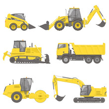 Set Of Yellow Construction Equipment And Machines