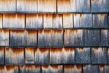 Old Wooden Wall, Old Wooden Roof, Old Dark Weathered Wood Shingles