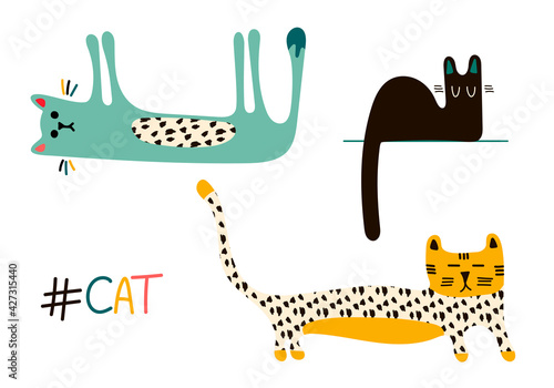 Vector set with three cute colorful cats and the inscription cat in the Scandinavian style, isolated elements on a white background. Children's illustration for posters, books, pajamas, fabrics, toys