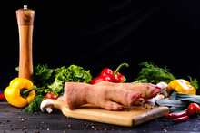 Raw Pork Legs, Raw Pork Leg Meat For Cooking With Copy Space Background