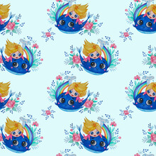 Seamless Patterns. A Cute Princess Swims On A Blue Whale With A Rainbow And Flowers On A Light Blue Background With A Floral Pattern. Watercolor. Hand Drawing Kids Collection