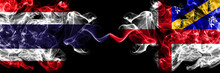 Thailand, Thai Vs United Kingdom, Great Britain, British, Herm  Smoky Mystic Flags Placed Side By Side. Thick Colored Silky Abstract Smokes Flags.