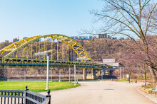 The Beautiful Fort Pitt Bridge That Takes It Through The Fort Pitt Tunnel. This Bridge Is In The City Of Pittsburgh, State Of Pennsylvania. This Bridge Runs Along The Monongahela River.