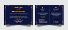 Modern Creative Luxurious Amazon Thank You Card Print Ready Premium Vector With Elegant Golden Color