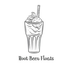 Root Beer Floats Outline Vector Icon. Drawn American Dessert Drink.