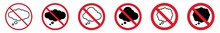 Prohibition Sign Thinking Forbidden Icon Set | Thought Bubble Prohibition Signs Thinks Prohibited Vector Illustration Logo | Thought Cloud Prohibition Sign Isolated
