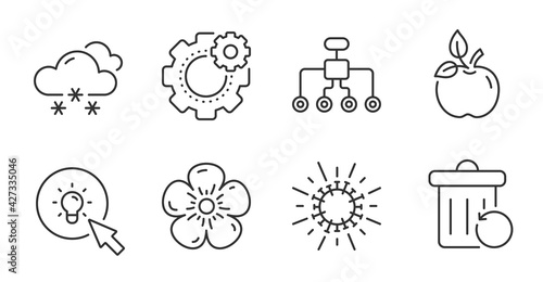 Fotografia Restructuring, Energy and Coronavirus line icons set