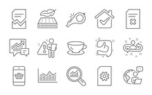 Recruitment, Espresso And Data Analysis Line Icons Set. File Management, Like And Whistle Signs. Corrupted File, Smartphone Buying And Money Diagram Symbols. Lightweight Mattress, Accounting. Vector