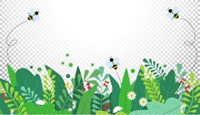 Summer Or Spring Background With Colorful Green Leaves, Bees And Flowers. Spring Vector Flat Style Template For Banner, Flyer, Wallpaper, Brochure, Greeting Card. Cartoon Easter Vector Illustration