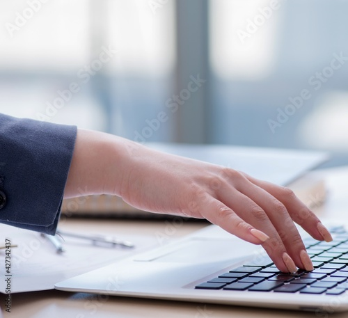 Fotografie, Obraz Female finance professional working on keyboard with reports