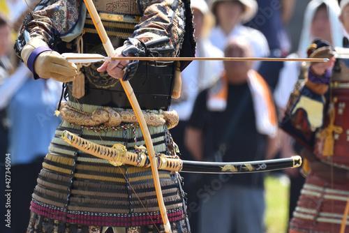 Vászonkép Japanese archery, with high concentration