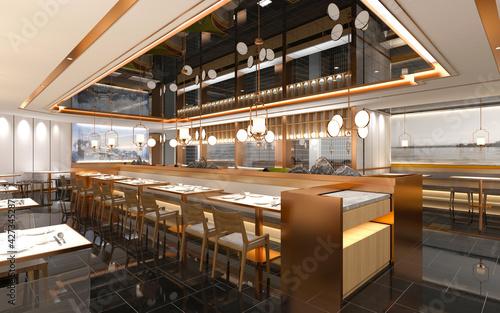 Fotografía 3d render of luxury restaurant grill house, fireside