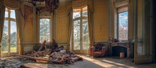 Panoramic Shot Of An Abandoned Ruined Living Room