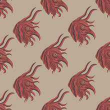 Seamless Pattern With Red Heads Of Fantastic Medieval Demon Or Devil With Bird's Beak. On Gray Background.