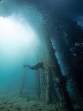 Underwater View Of A Diver In The Deep Blue Sea Near Corals Near Pier Support.