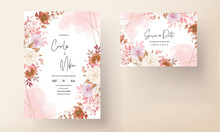 Boho Wedding Invitation Card Brown Floral