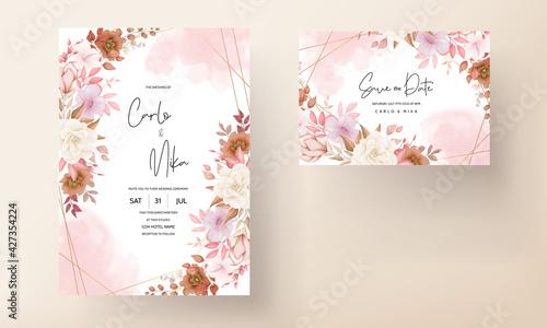 Fotografie, Obraz Boho wedding invitation card brown floral
