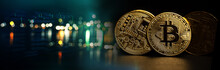 Golden Bit Coin Model And Stock Market Graph For Crypto Currency Finance Business On Banner Black Background