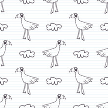 Cute Black White Bird Scribble Kids Doodle Background. Hand Drawn Whimsical Motif Seamless Pattern. Naive Simple Character Cartoon For Minimal Baby, Nursery Decor, Neutral Unisex Scrap Book Paper