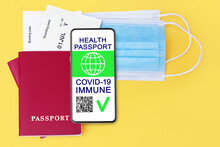 Digital Health Passport COVID 19 Immunity Coronavirus Vaccination Certificate, Smartphone, Flight Boarding Pass, Protective Medical Face Mask, Vaccinated People Travel Summer Holidays Vacation Tourism