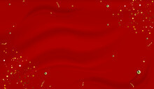 Red Silk Draped Fabric Background With Gold Pearls Or Randomly Scattered Shiny Spheres. Luxurious Red Silk Background With Gold Glitter And Sparkle. Realistic 3d Vector Illustration EPS10