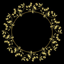 Round Floral Frame. Wreath Of Spindle Tree Branches (Euonymus Europaeus) With Leaves And Berries. Golden Glossy Silhouette On Black Background.