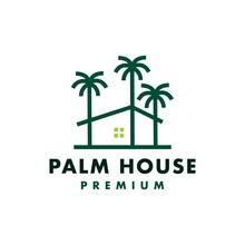 Palm Tree House Logo Vector Icon Illustration