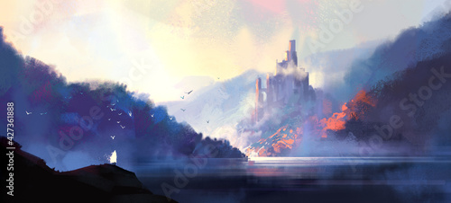 Fototapeta Fantasy style medieval castle, digital illustration. obraz