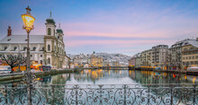 Historic City Center Of Downtown Lucerne With  Chapel Bridge And Lake Lucerne In Switzerland