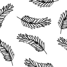 Spikelet Seamless Pattern. Hand Drawn Doodle Style. Vector, Minimalism, Monochrome, Sketch. Wrapping Paper, Textile, Background, Label. Grain, Harvest.