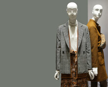 Female Manikin In European Fashion Store. Two Mannequins Wear Luxury Style Winter Clothes. Female Mannequins In Shop Window. Standing Women Dummies Show Casual Style Collection Of Clothes In Showcase
