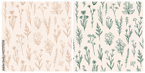 Wildflower seamless pattern set with outline florals. Retro style print design collection with hand drawn flowers in rustic colors. Simple field floral patterns for packaging, fabric design