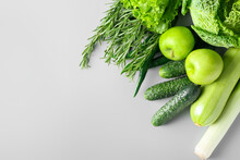 Healthy Green Fruits And Vegetables On Grey Background