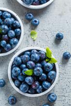 Fresh Organic Blueberries On Stone Background