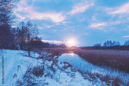 Canvas Rural landscape in winter