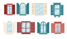 Set Of Various Wooden Windows With Shutters Collection Retro Windows Vector Illustration On White Background
