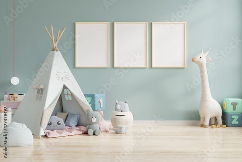 Fotografia Mock up poster frame in children room,kids room,nursery mockup.