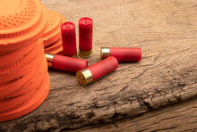 Clay Pigeons And Shotgun Bullets On Wooden Background , Clay Target Shooting Game , Can Be Used As A Background