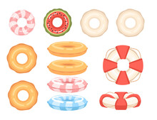 Set Of Different Shapes And Colors Swimming Circles Vector Illustration On White Background