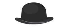 Hat With A Narrow Brim In Black On A White Background. Isolated Hat Illustration. Charlie Chaplin Hat