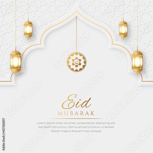 Eid Mubarak Arabic Elegant Luxury Ornamental Islamic Background with Islamic Pattern Border and Decorative Hanging Ornament Fototapete