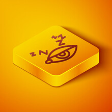 Isometric Line Insomnia Icon Isolated On Orange Background. Sleep Disorder With Capillaries And Pupils. Fatigue And Stress. Yellow Square Button. Vector