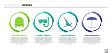 Set Rafting Boat, Diving Mask And Snorkel, Sunbed And Sun Protective Umbrella For Beach. Business Infographic Template. Vector