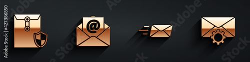 Obraz Set Envelope with shield, Mail and e-mail, Express envelope and Envelope setting icon with long shadow. Vector - fototapety do salonu